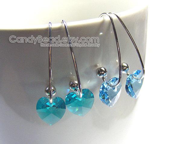 Swarovski Crystal Earrings, Genuine Swarovski Blue Series on Long Ear Hooks -