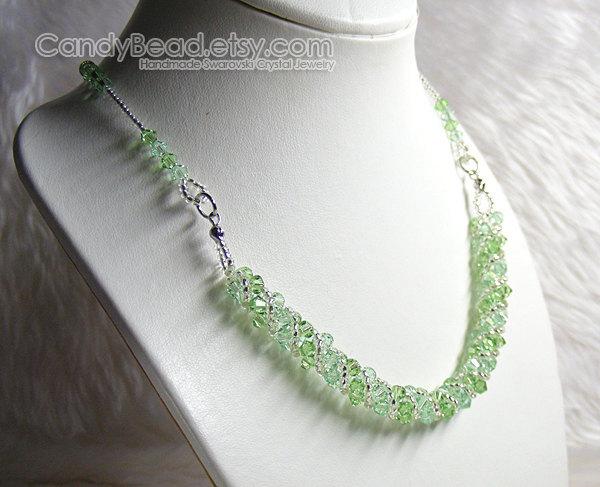 Crystal Necklace; Swarovski Necklace; Glass Necklace; Sweet Peridot Green Twisty