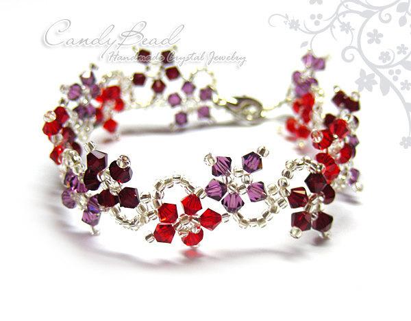 Crystal Bracelet; Swarovski Bracelet; Glass Bracelet; Amethyst and Red Swarovski