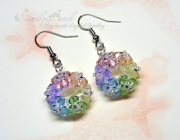 Sweet Flower bunch Swarovski Crystal  Earrings by CandyBead (E021-01)