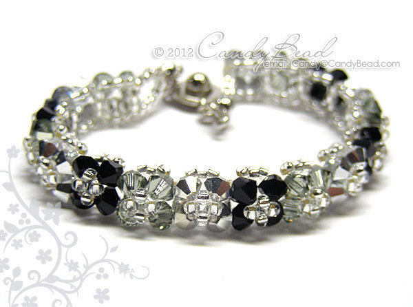 Crystal Bracelet; Swarovski Bracelet; Glass Bracelet; Silver Black Shade