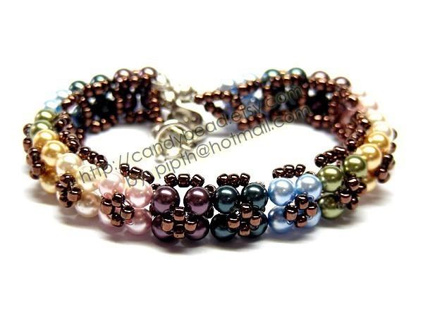 Crystal Bracelet; Swarovski Bracelet; Glass Bracelet; Colorful Flora Pearl