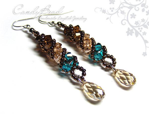 Swarovski earrings;crystal earrings;Coco & Green Twisty Swarovski Crystal