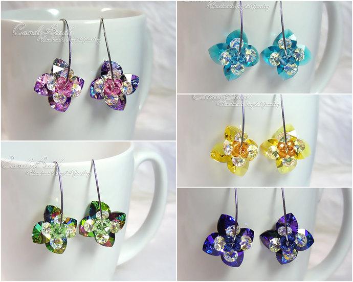 Swarovski earrings;crystal earrings; Flower Heart Swarovski Crystal Earrings on
