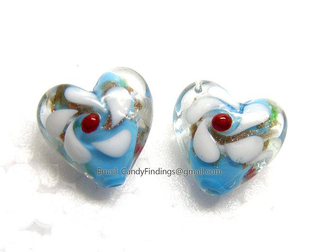 Blue Heart Lampwork Glass Beads Foil Flowers 20mm x 20mm Jewelry Making Supplies