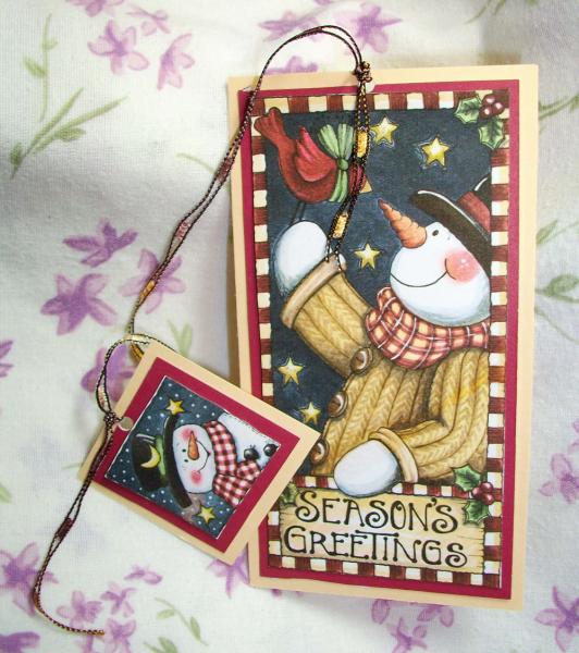 Seasons Greetings snowman bookmark