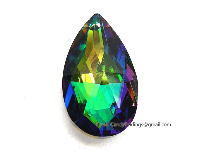 Large Peridot AB 50x30mm AAA High Quality Glass Pearshape Faceted Silver Foiled