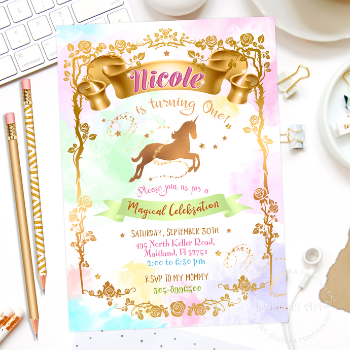 Unicorn Invitation Unicorn Printable By Lythiumart On Zibbet