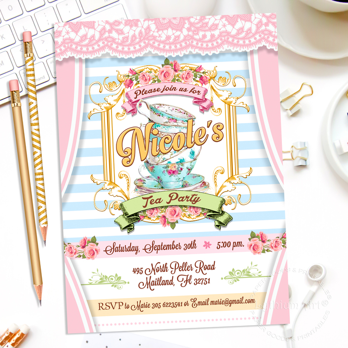 image regarding Tea Party Printable referred to as Tea Celebration Invitation - Tea Occasion Printable Invitation - Bridal or Shower Tea Bash - Shabby Stylish Tea Occasion Invitation - Tea Get together Invite