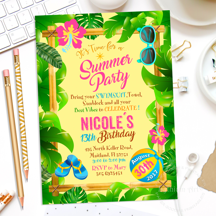 picture regarding Printable Luau Invitations called Summer time Occasion Invitation - Printable Invitation - Pool Celebration Invitation - Beach front Social gathering Invitation - Luau Celebration Invitation - Hawaiian Get together