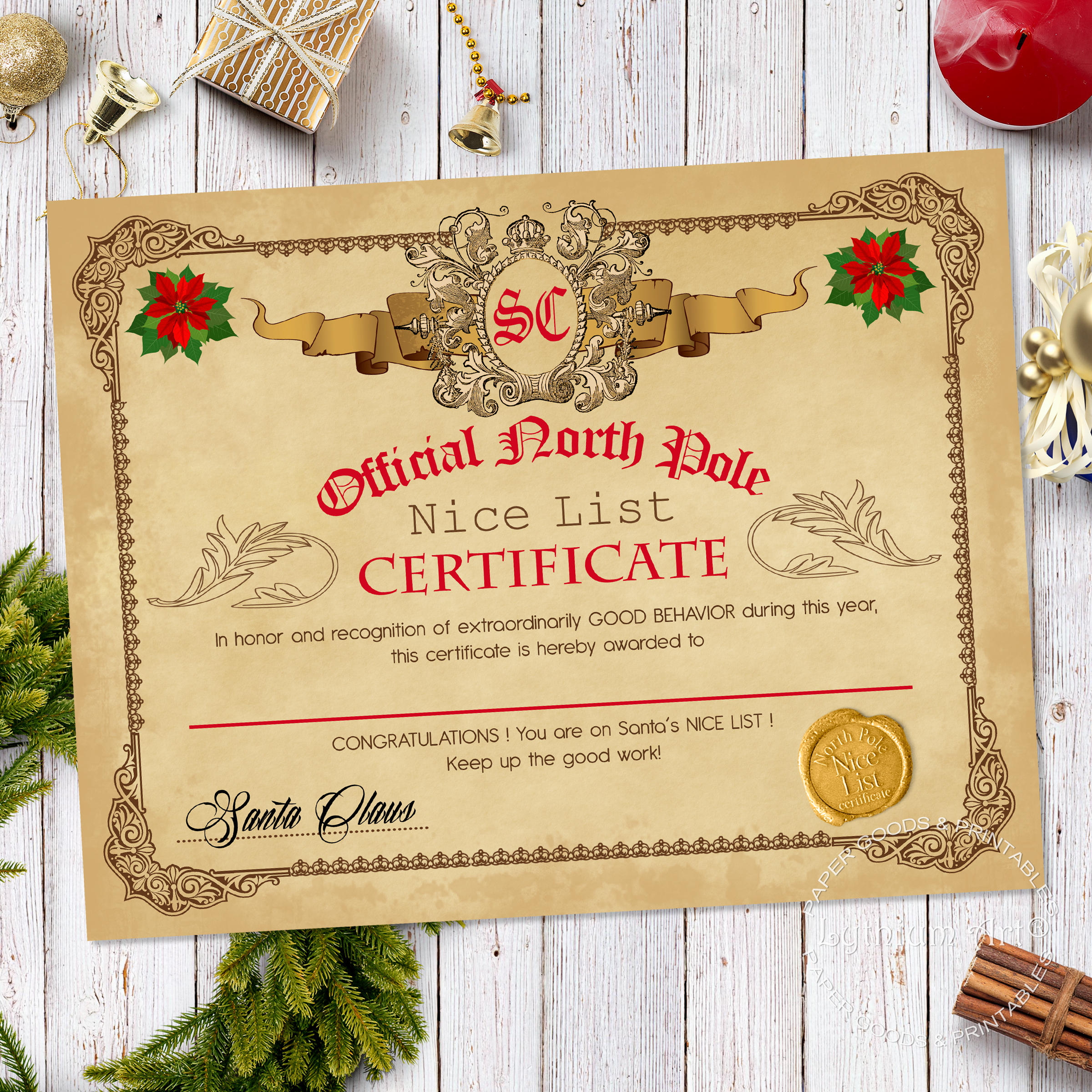 Santa nice and naughty list certificate letter by lythiumart on xflitez Gallery
