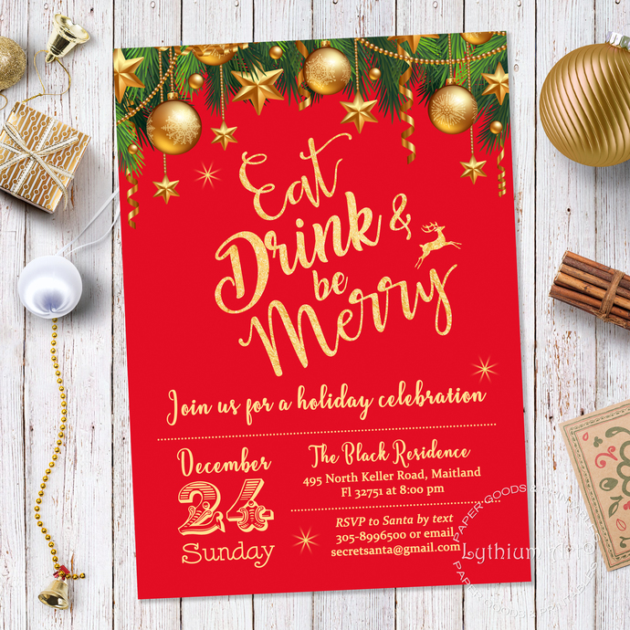 photo about Printable Holiday Invitation referred to as Xmas Invitation, Xmas Bash Invitation, Wintertime Invitation, Xmas Invitation Printable, Vacation Invitation, Purple and Gold Invite