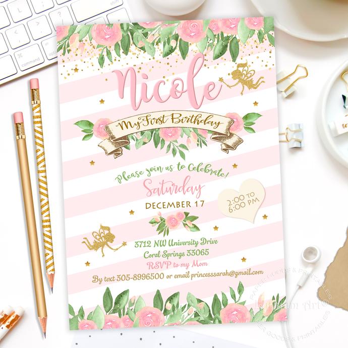 fairy invitation  fairy birthday  fairy party  by