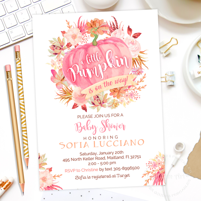 pumpkin baby shower invitations pink pumpkin by lythiumart on zibbet