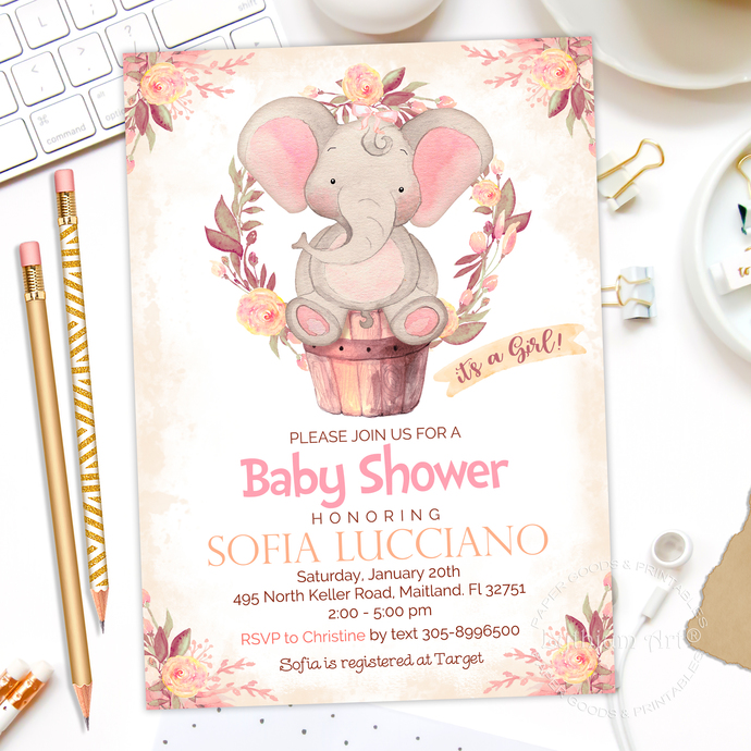 Elephant Baby Shower Invitation Safari Baby By Lythiumart On Zibbet