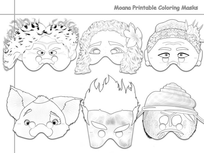graphic about Printable Moana identified as Moana Printable Coloring Masks, Moana mask, celebration, Moana coloring, paper mask, Moana dress, Disney, Maui, Tala, Kakamora