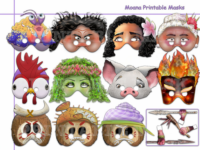 photo about Moana Printable identify Distinctive Moana Printable Masks Choice, Moana bash, birthday, booth props, young children gown, decoration, Cartoon Disney Personality