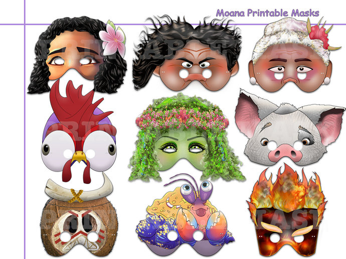 Unique Moana Printable Masks Collection, by ...