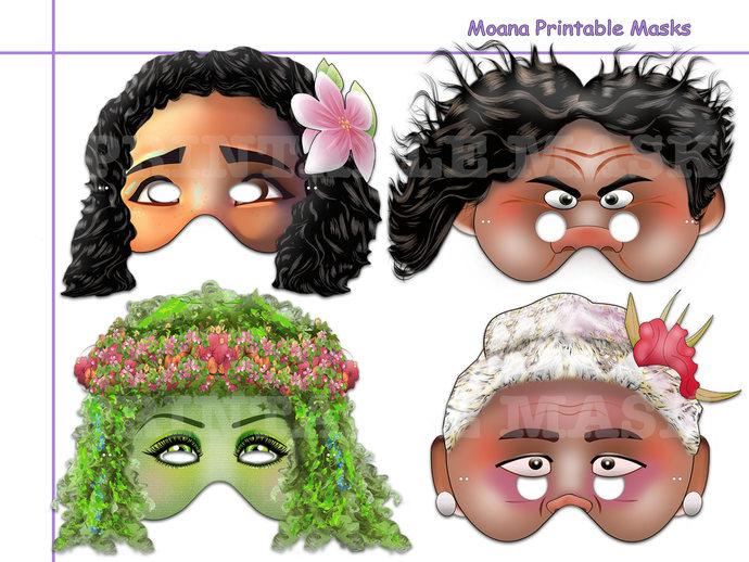 Unique Moana Printable Masks, Moana party, Moana birthday, photo booth props,