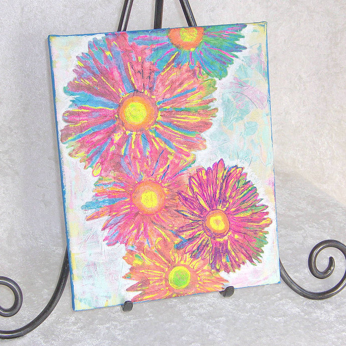 Flower Fall mixed-media art piece, gallery-wrapped stretched canvas 8x10 inches