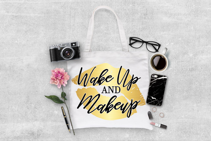 Wake Up and Makeup Custom tote bag, personalized grocery totes, makeup artist