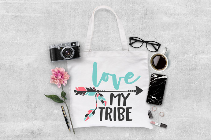 Love my Tribe Custom Tote Bag, mom tote bags, gifts for mom, personalized