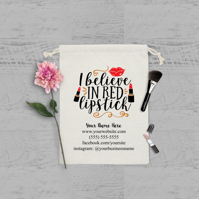 I believe in Red lipstick bag, lipstick bag, lipsense, makeup artist promotional