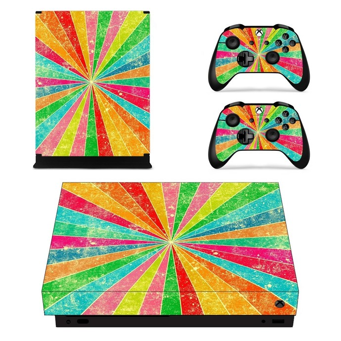 Abstract Rainbow xbox one X skin decal for console and 2 controllers