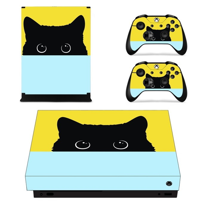 Cute black cat xbox one X skin decal for console and 2 controllers