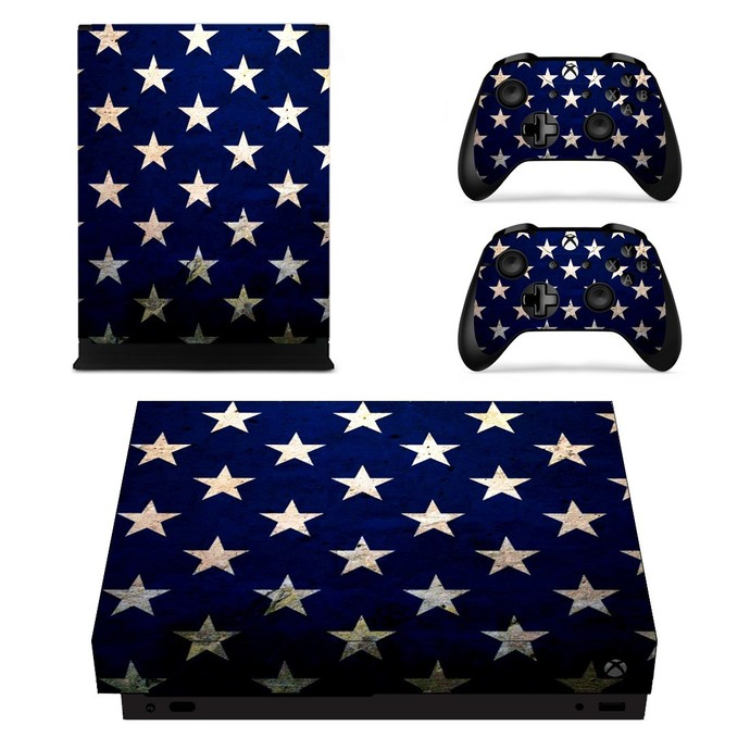 Patriotic USA Flag Seamless Pattern xbox one X skin decal for console and 2