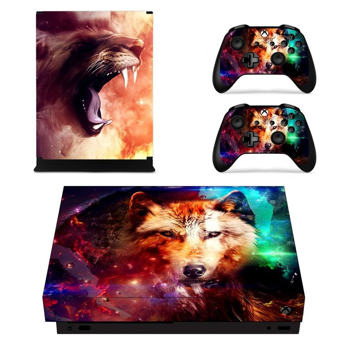 Roaring Lion xbox one X skin decal for console and 2 controllers