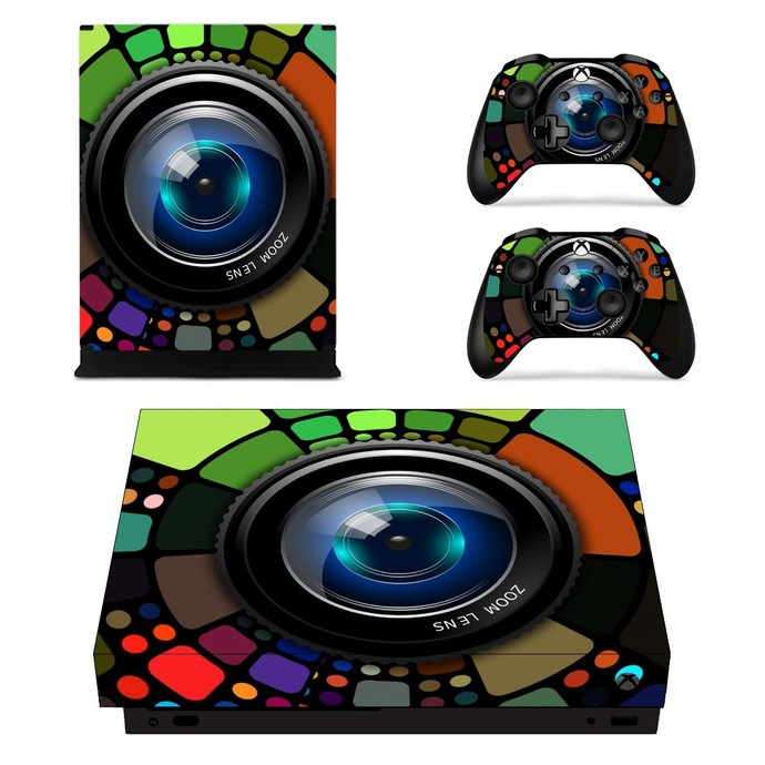 Zooming Camera Lens xbox one X skin decal for console and 2 controllers