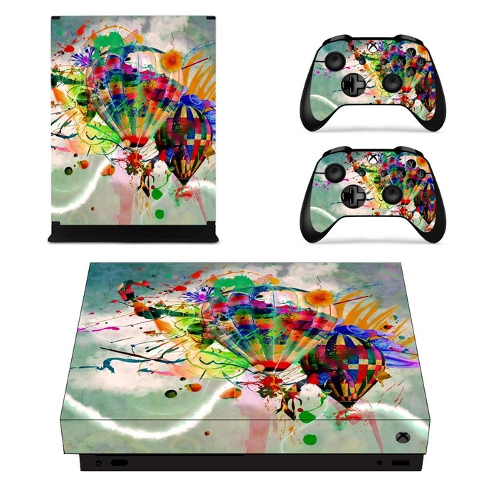 Hot air balloon color splash Painting xbox one X skin decal for console and 2