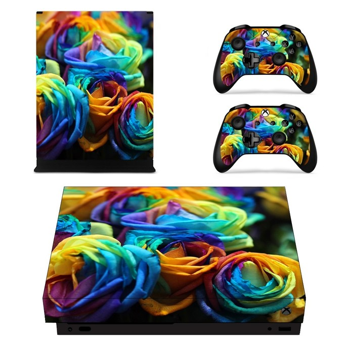 Colorful Flower xbox one X skin decal for console and 2 controllers