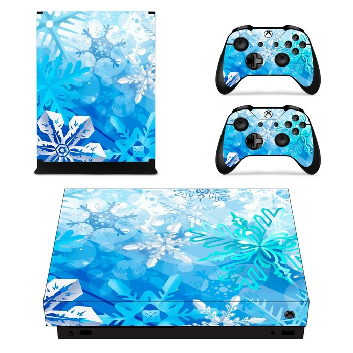 Light Blue Design xbox one X skin decal for console and 2 controllers