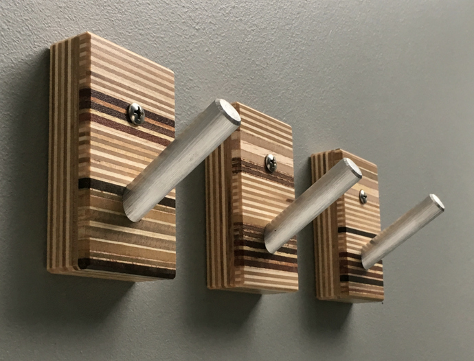 Wall Hooks - Wood and Metal - Home Décor - Set of Three - Modern Wood Coat Hooks