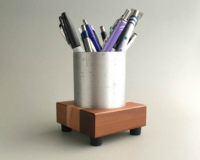 Wood and Metal Butcher Block Pencil Holder