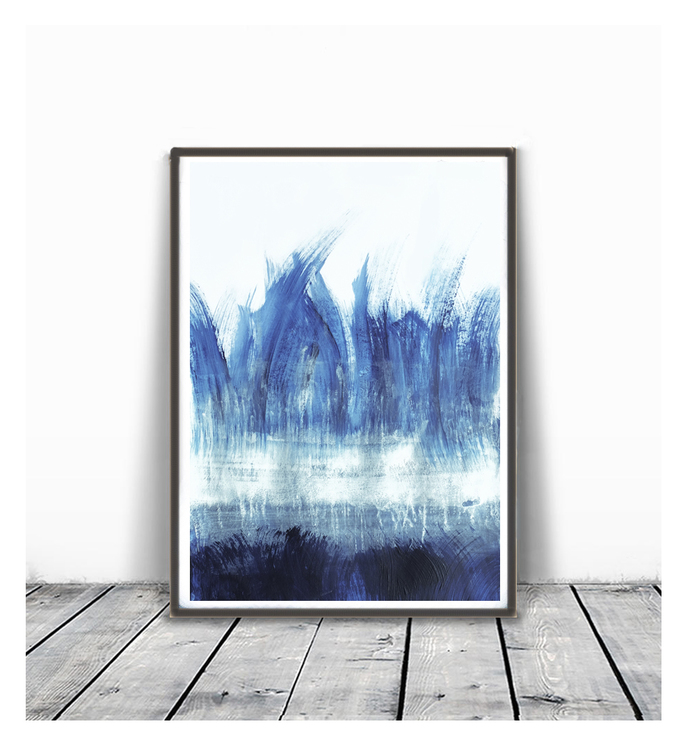 Abstract digital print, Dark blue painting, digital download print, abstract