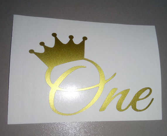 Babies First Bithday Iron on Decal / Crown ONE / First Birthday