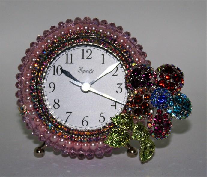Pink Pearl, Crystal Bead & Rhinestone Multi Colored Flower Alarm Clock