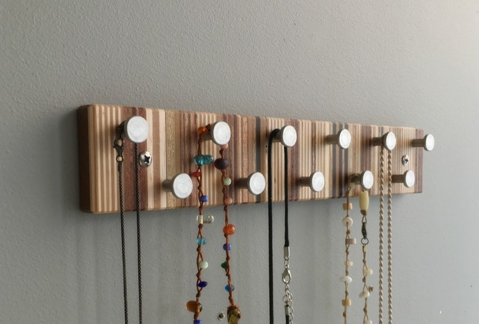 Jewelry Rack, Necklace Organizer, Wall Mount, Modern Wood and Metal