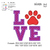 Paw Print Love applique embroidery design embroidery pattern No 618 ... 3 sizes