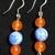 Orange Quartz and Blue Lace Agate Earrings