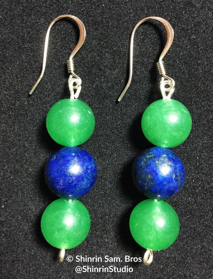 Adventurine and Lapis Earrings