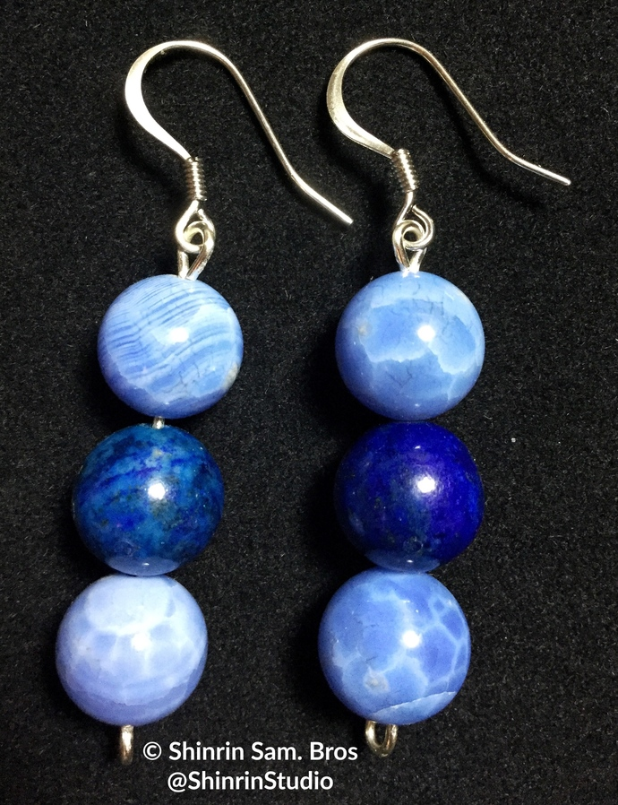 Lapis and Blue Lace Agate Earrings
