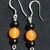 Black Onyx and Orange Quartz Earrings