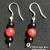 Red Coral and Black Onyx Earrings