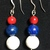 Red Coral, Lapis and Howlite Earrings