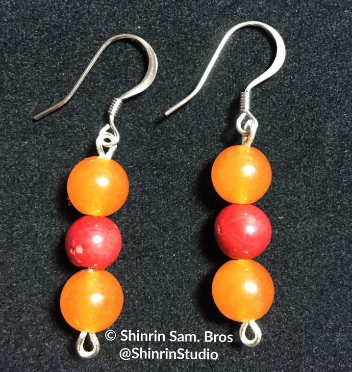 Orange Quartz and Red Coral Earrings