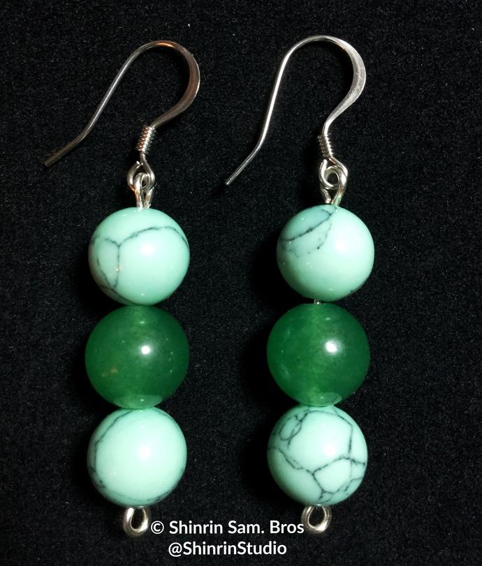 Turquoise and Adventurine Earrings